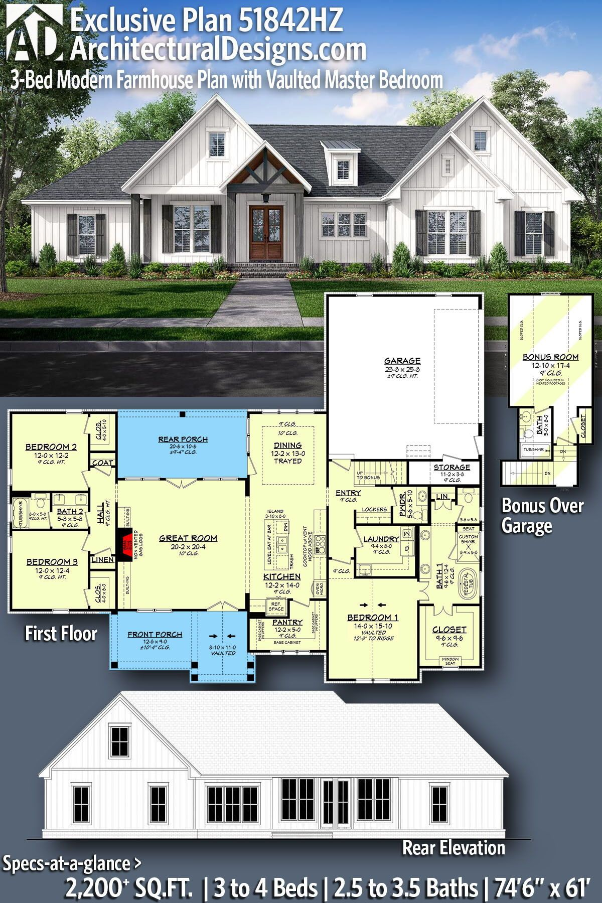 Plan 51842hz 3 Bed Modern Farmhouse Plan With Vaulted Master Bedroom Modern Farmhouse Plans Craftsman House Plans Farmhouse Plans