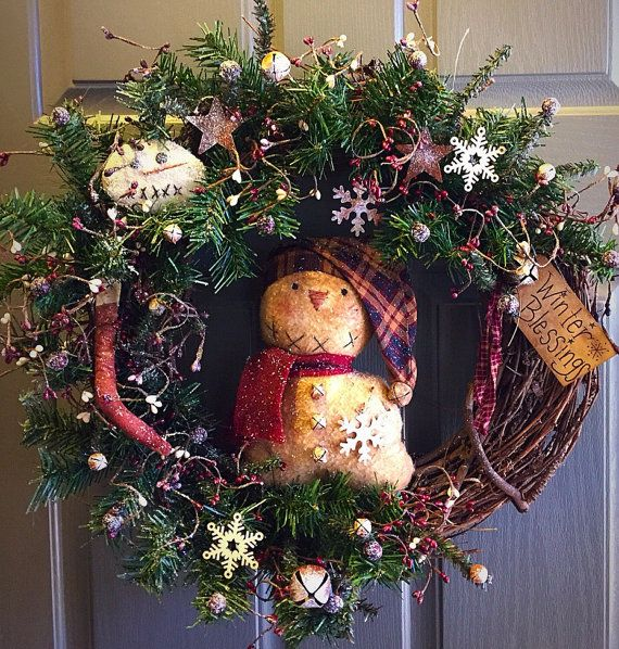 Primitive snowman Christmas wreath - Christmas wreath - primitive wreath- Christmas Decor
