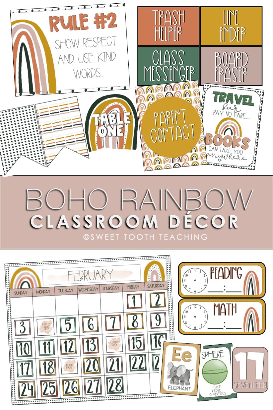 Boho Rainbow Classroom Decor Neutral Colors In 2020 Classroom Decor Classroom Classroom Calendar