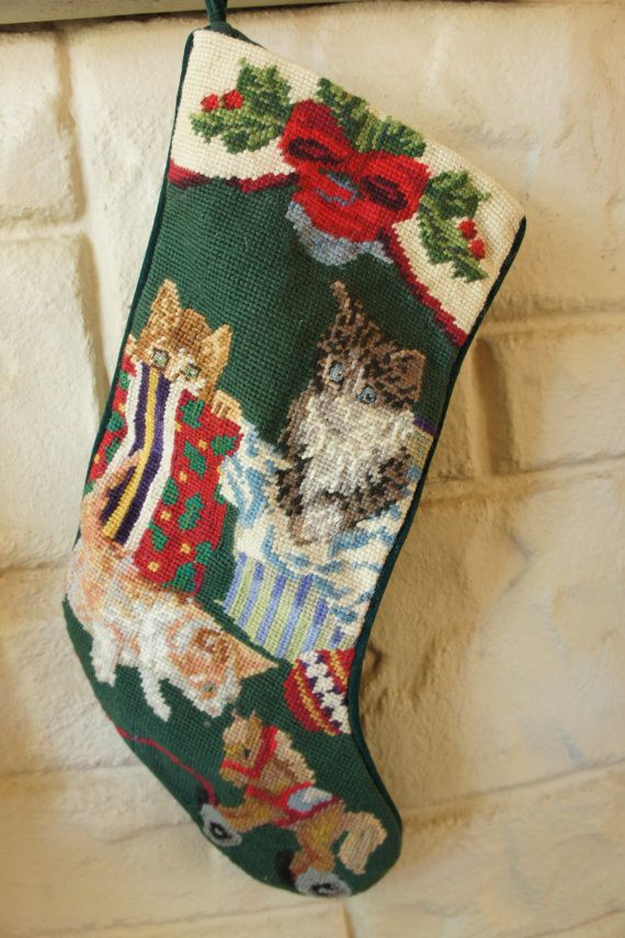 Vintage 80s 90s Embroidered Christmas Stocking With Cats