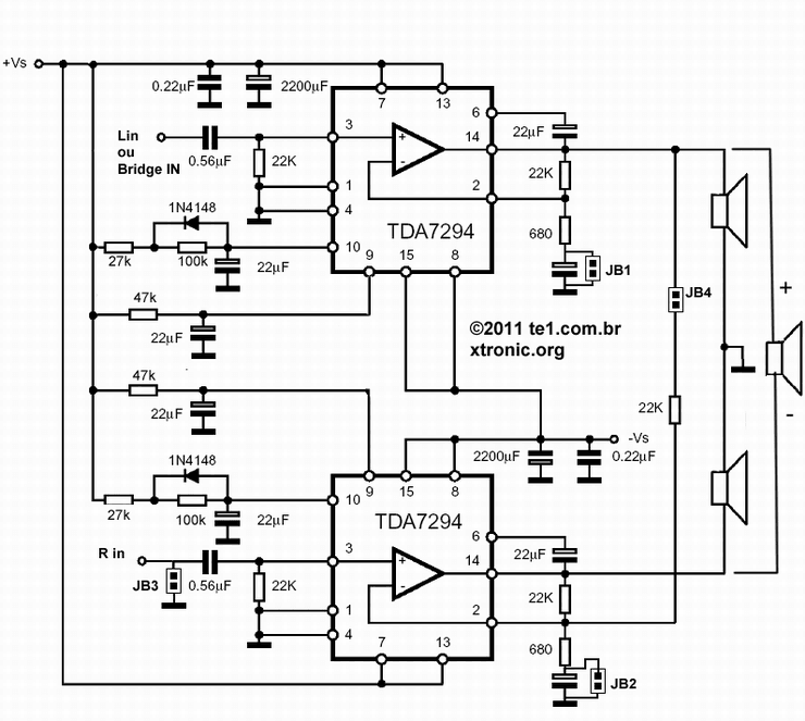 TDA7294 Audio Amplifier 2 x 80W ~ AmplifierCircuits.com in