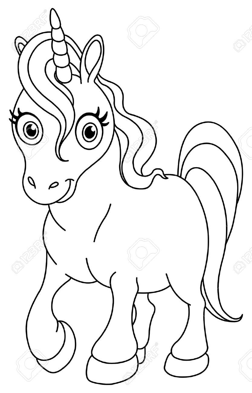 Outlined Cute Unicorn Unicorn Coloring Pages Dog Coloring Page Cartoon Coloring Pages