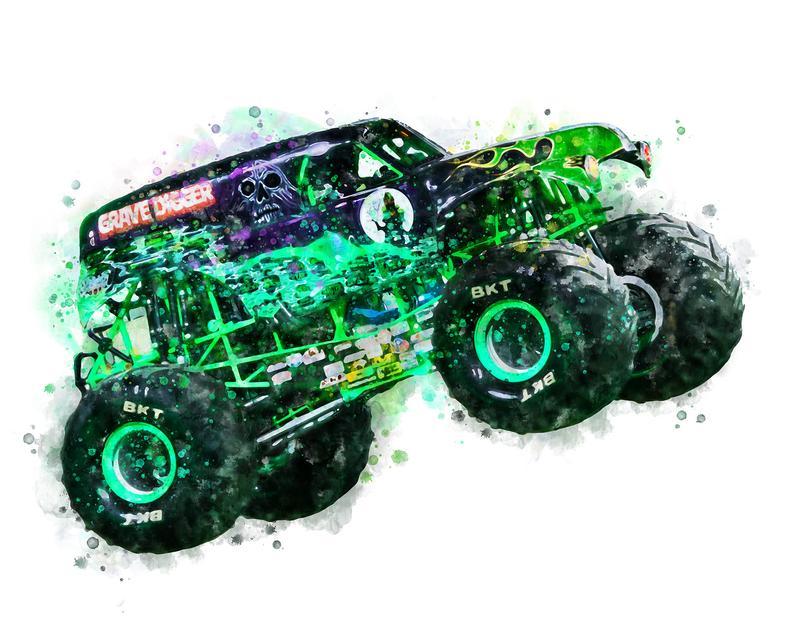 Grave Digger Art Print Watercolor Monster Truck Poster Monster Etsy Monster Trucks Monster Truck Art Truck Art