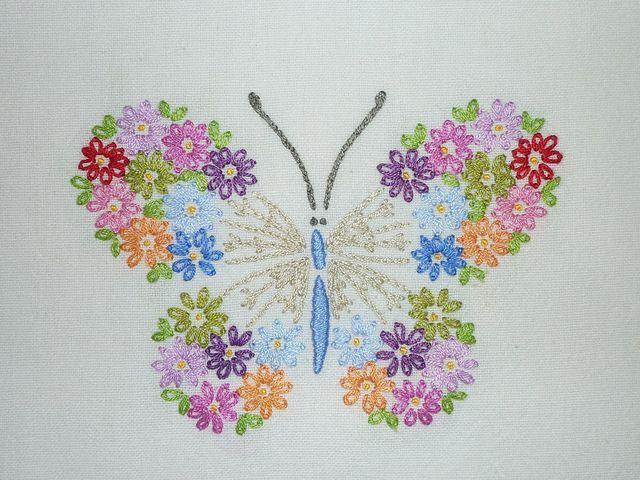 Mariposa de flores | bordado español | Pinterest | Bordado ...