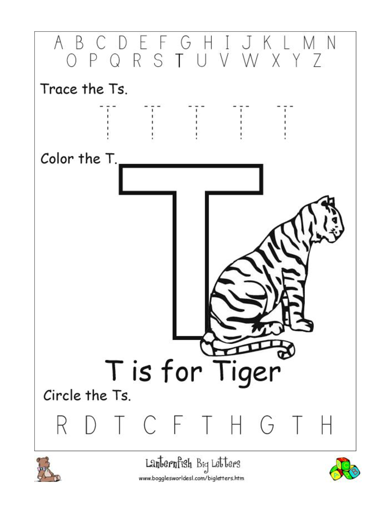 Alphabet Worksheets For Preschoolers Alphabet Worksheet Big Letter T