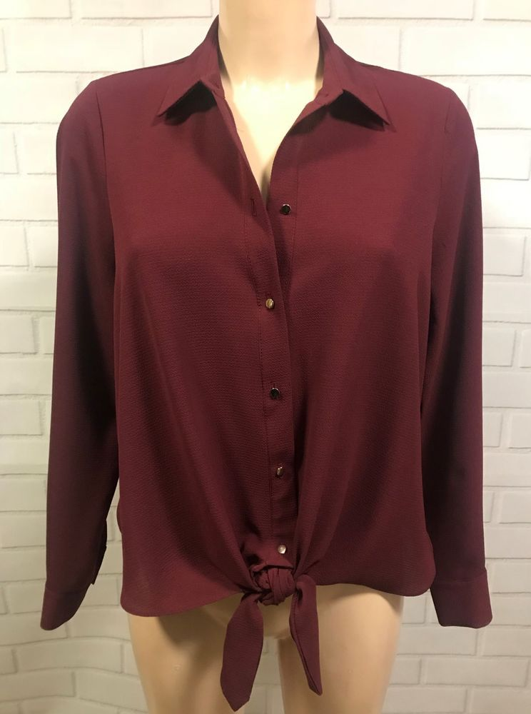 Burgundy tie front button up long sleeve shirt blouse size