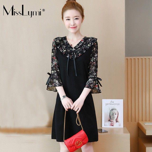 MissLymi L-5XL Plus Size Women Floral Chiffon Dresses 2018 Summer Korean  Loose Ruffle V f4c4dd0778c2