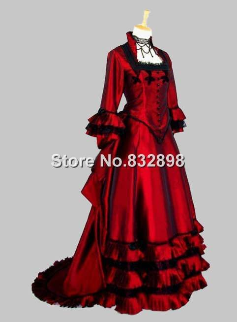 Puffy Satin Gothic Victorian Ball Gown Dress Price US 18696 Up