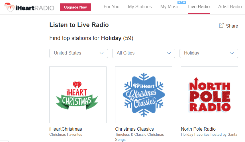 happy christmas day heres iheartradios decent selection of free internet radio stations that play christmas music such as iheartchristmas classics and - List Of Christmas Radio Stations