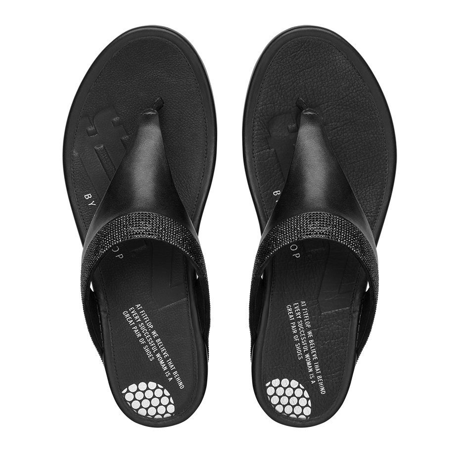 71e182e01e5 Fitflop Banda™ Micro-Crystal Toe-Post All Black  SS15  sandals