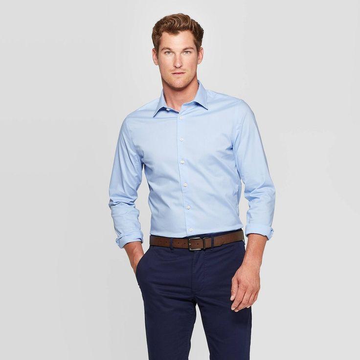 Mens slim fit long sleeve dress buttondown shirt
