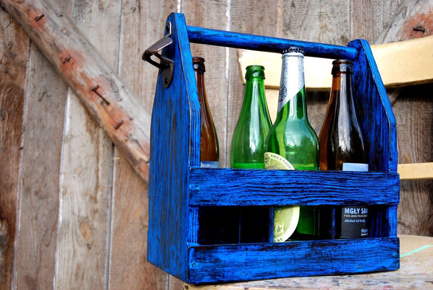 Wood Beer Box, Beer Carrier, Painted Crate, Reclaimed Beer Box, Antique 6 Pack…