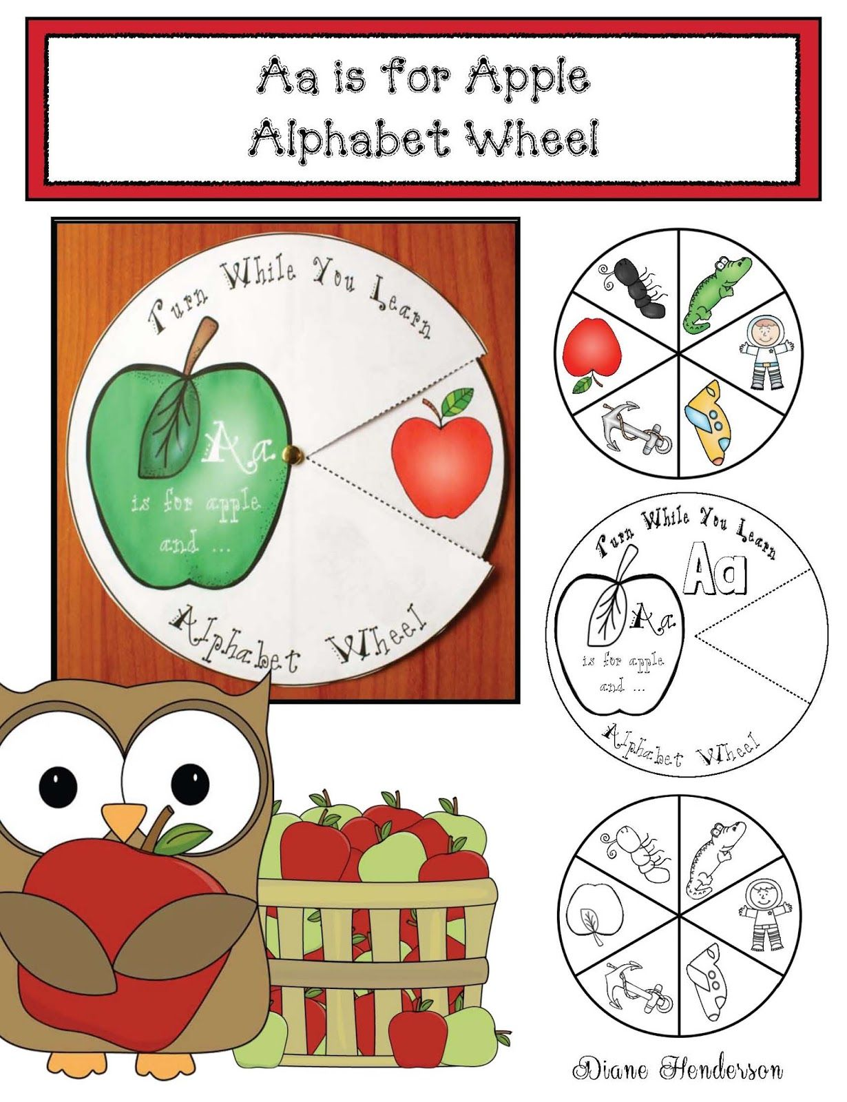 Aa Is For Apple Alphabet Wheel