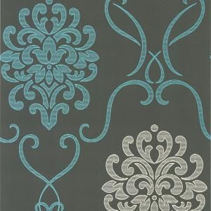 Unbranded Suzette Aqua Modern Damask Paper Strippable Roll Wallpaper Covers 56 Sq Ft Dl30443 The Home Depot Damask Wallpaper Modern Wallpaper Contemporary Wallpaper