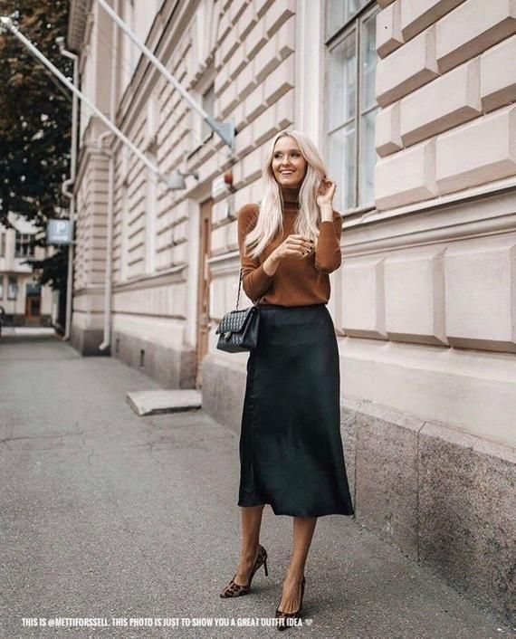 Black silk slip skirt midi Skirt satin bias cut Silk clothing Silk basics Midi black skirt pencil 3