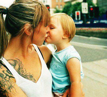 Girl Kid Kiss Tattoo Image 174304 On Favim Com Kiss Tattoos
