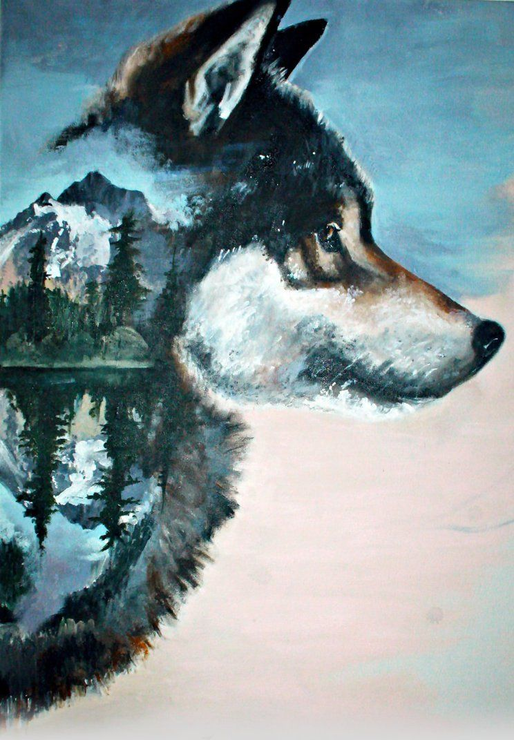 Wolf Pack Wolves in the woods Water Color Print 11 x 14