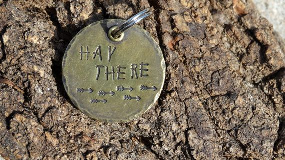 """1-1/4"""" Brass Round Disc - On SALE - Dog Tag - Horse Tag - HAY THERE on Etsy, $12.27 CAD"""