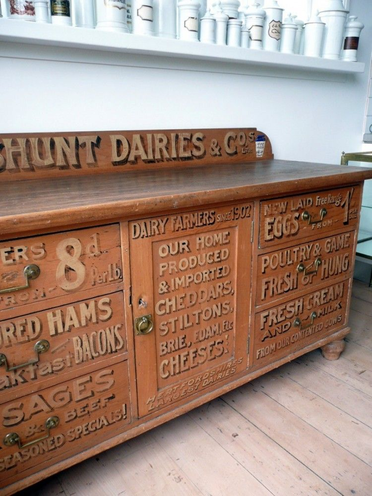 Victorian sign painted Dairy Pine Chiffonier from England c.1880 ...