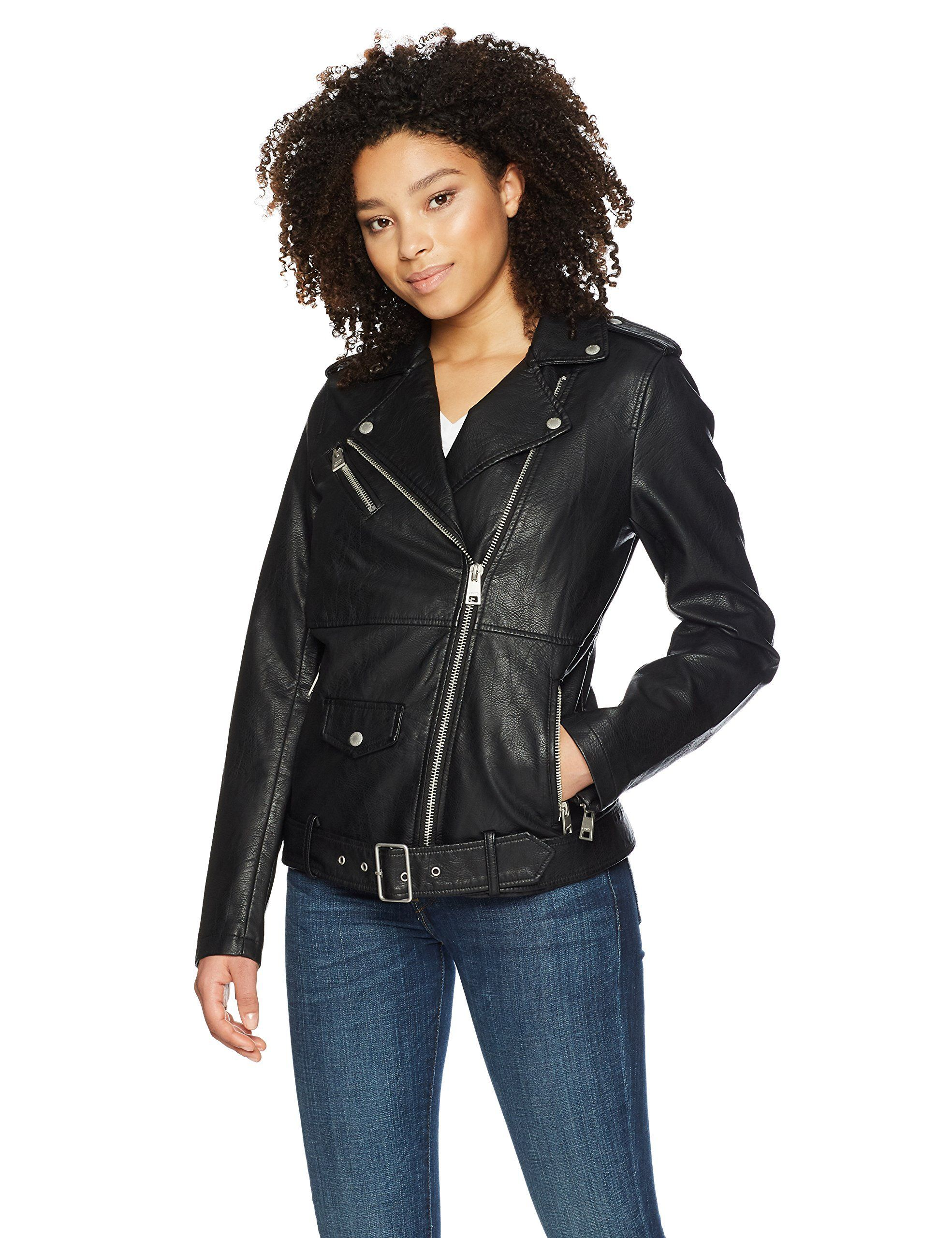 Levi's Women's Oversized Faux Leather Belted Motorcycle