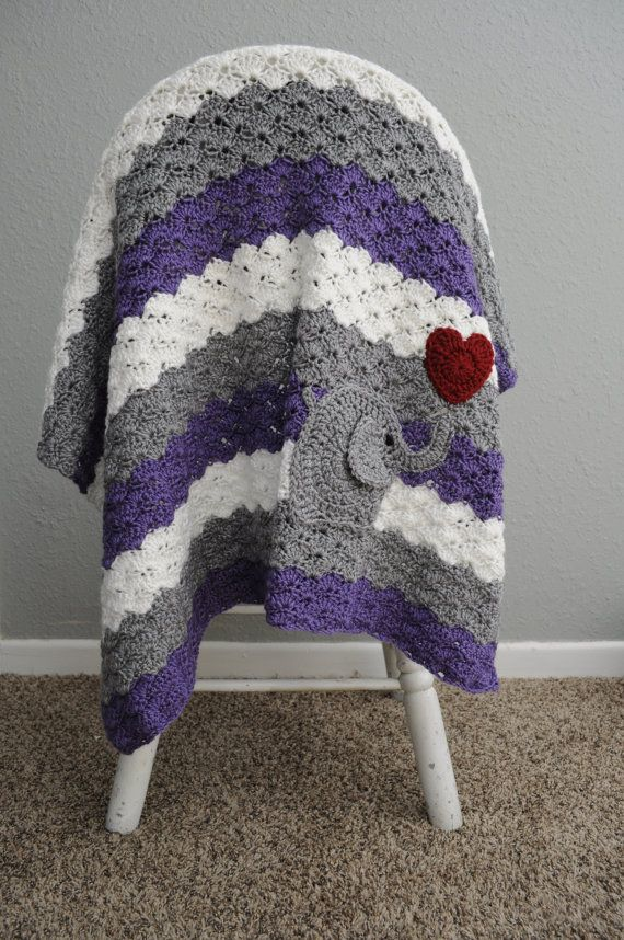 Crochet Baby Blanket - Purple and Grey - Finished - Ready to Ship ...