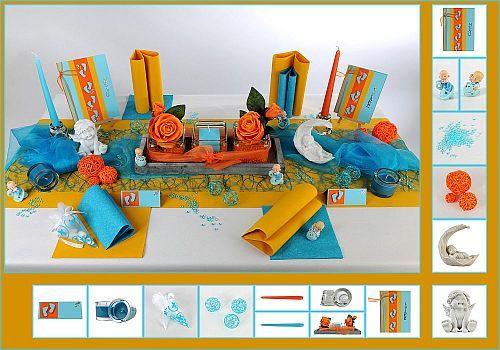 Mit der traumhaften Tischdeko zur Taufe in Türkis/Orange setzen Sie Akzente, besondere Akzente. Babyfiguren, Schnuller und Blumen inklusive