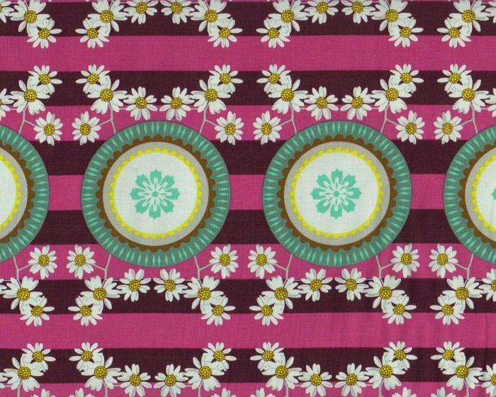 Patchworkstoff+PRETTY+POTENT,+Kamillenblüten,+pink-türkisgrün