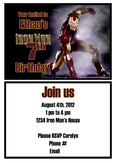 Iron Man Printable Invitation Party Birthday Treats 7th