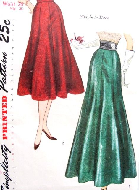 BEAUTIFUL 1950s Day or Evening Skirt Pattern SIMPLICITY 3360 Three Gore Figure Flattering Full Flare At Lower Edge Skirt Waist 26 Vintage Sewing Pattern UNCUT