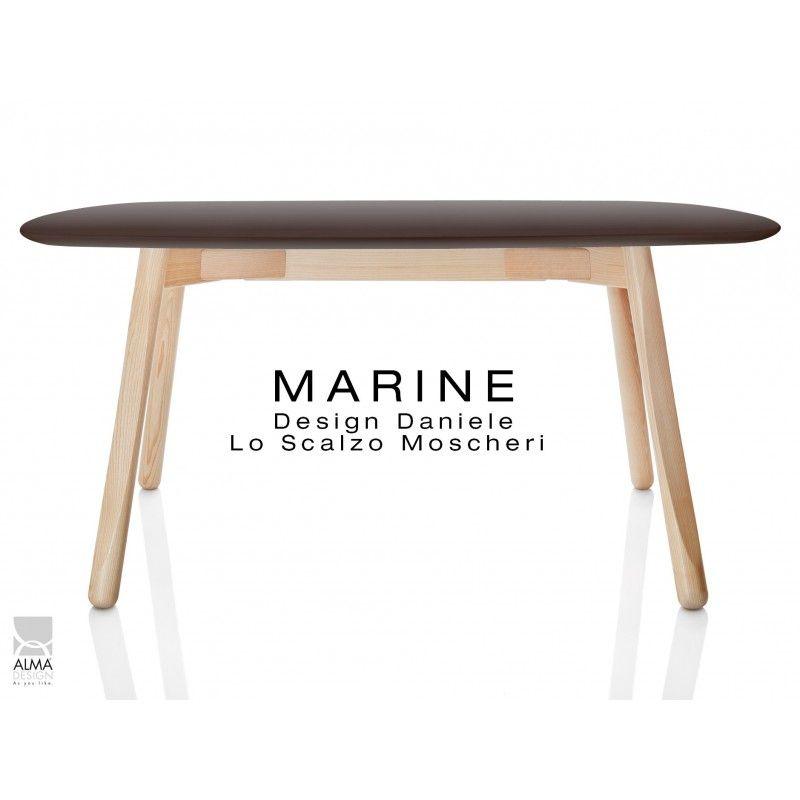 table rectangulaire pour salle manger marine pitement bois 4 pieds plateau peint - Pied Rectangulaire Pour Table