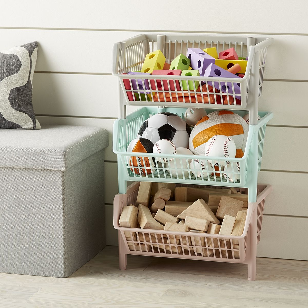 Tackle Wasted Space Without Taking Up A Large Footprint In Your Space Plastic Stacking Baskets Are Great Fo Toy Rooms Stackable Baskets Kids Room Organization