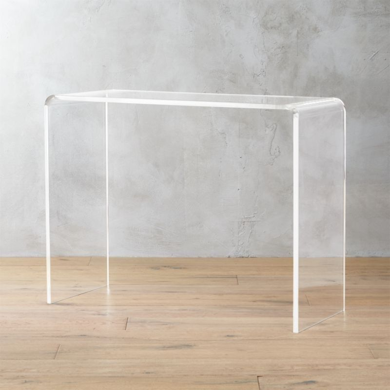 Best Peekaboo 38 Acrylic Console Table Reviews Cb2 640 x 480