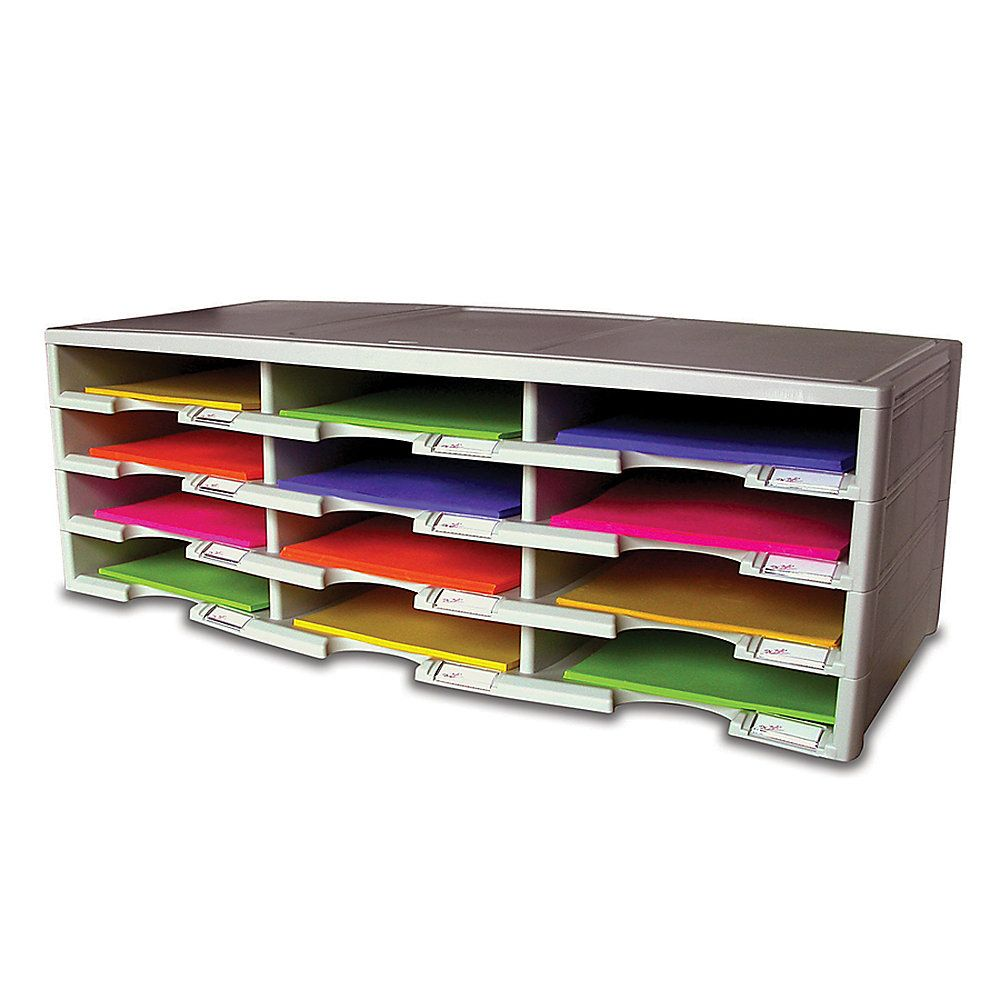 office depot brand stackable plastic literature organizer 12 gray by office depot