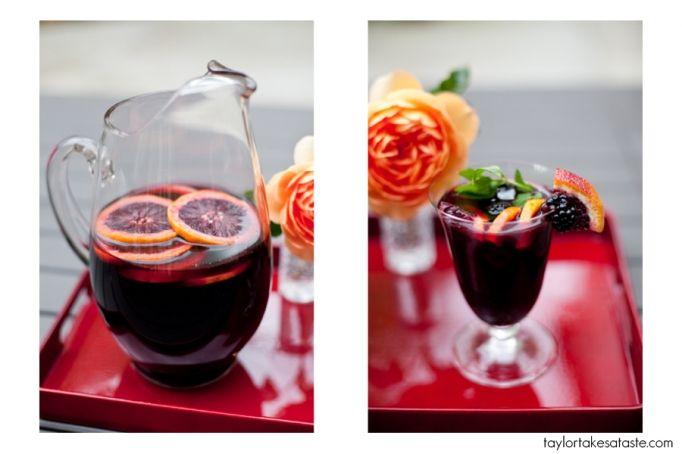Blood orange and blackberry sangria