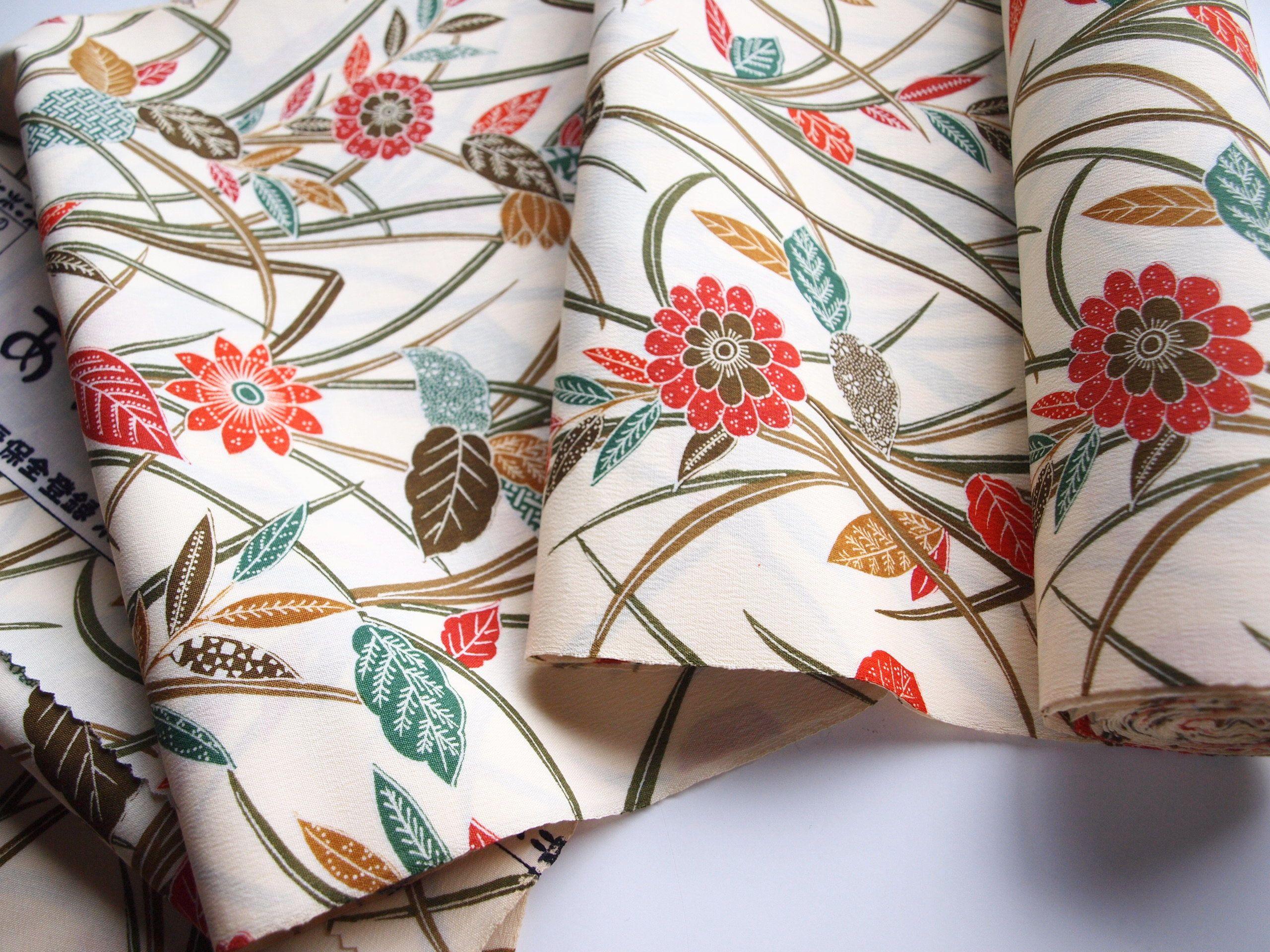 Floral Wool Kimono Fabric Botanical Pattern Unused Bolt By Etsy