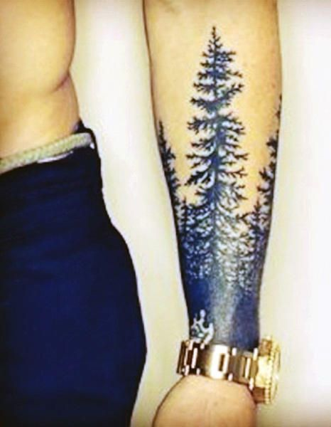 Popular Men's Pine Tree Tattoo On The Wrist | tatuajes de ...