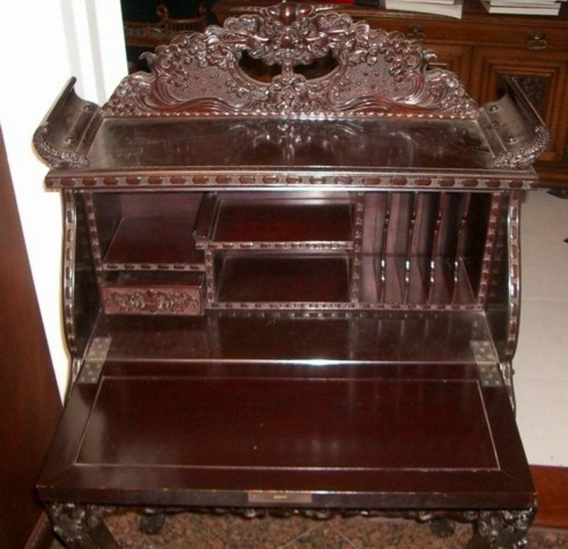 Asian Antiques | Japanese Meiji Export Carved Cherry Wood Desk and Chair  For Sale . - Asian Antiques Japanese Meiji Export Carved Cherry Wood Desk And