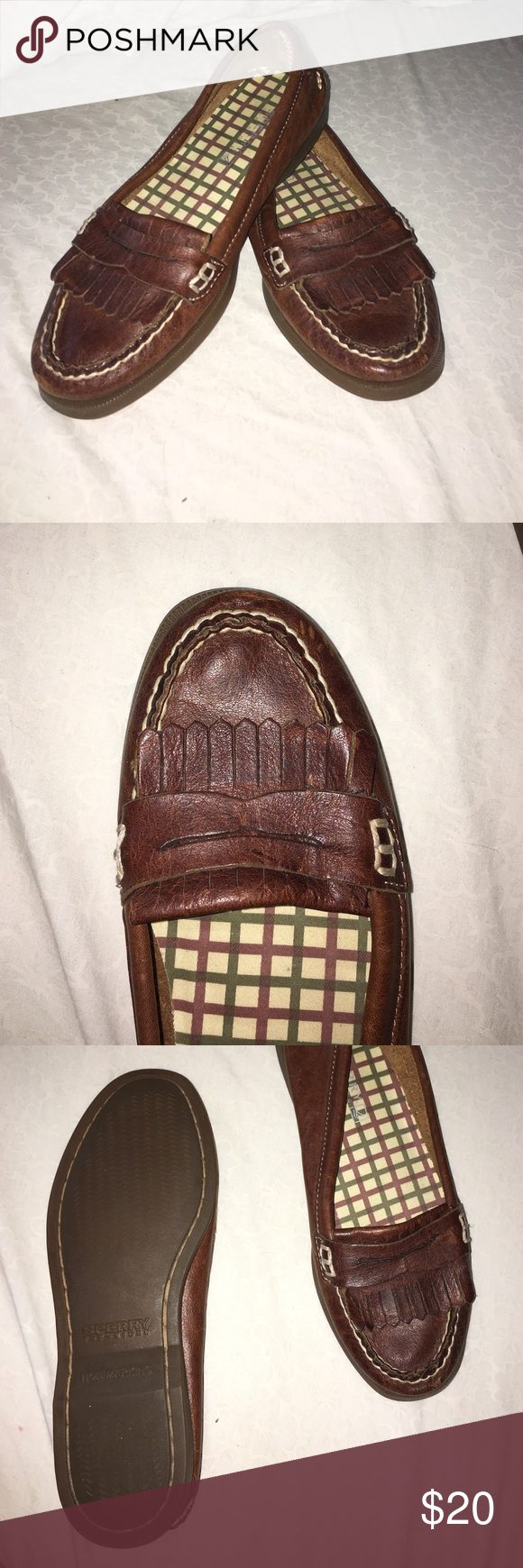 Super cute Sperry's!!! Like new sperrys look like loafers really cute on and comfortable to walk in but look barely used! Ask any questions  Sperry Top-Sider Shoes Flats & Loafers