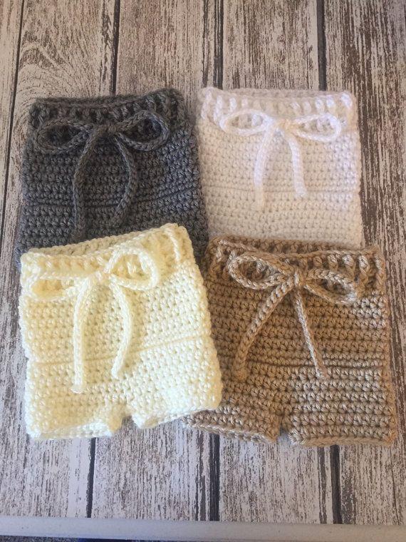 Crochet baby diaper cover shorts, newborn photo prop, knit diaper ...