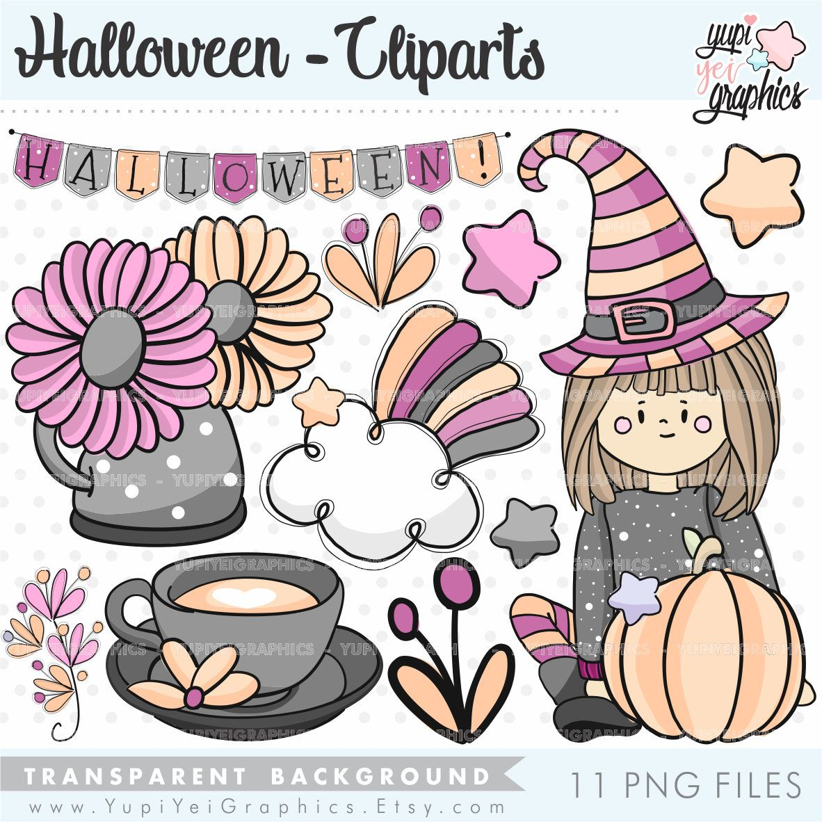 Halloween Clipart Halloween Graphics Witch Clipart | Etsy ...