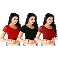 96b81db81b374 GOGURL Lycra Cotton Stretchable Free Size Readymade Blouse For Women Set Of  3