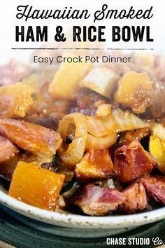 Hawaiian Bone in Smoked Ham Crock Pot Recipe - Chase Studio Co... #hawaiianfoodrecipes