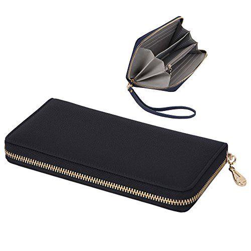 Women\'s Genuine Leather Purse Case Long Organizer Wallet Zippered ...