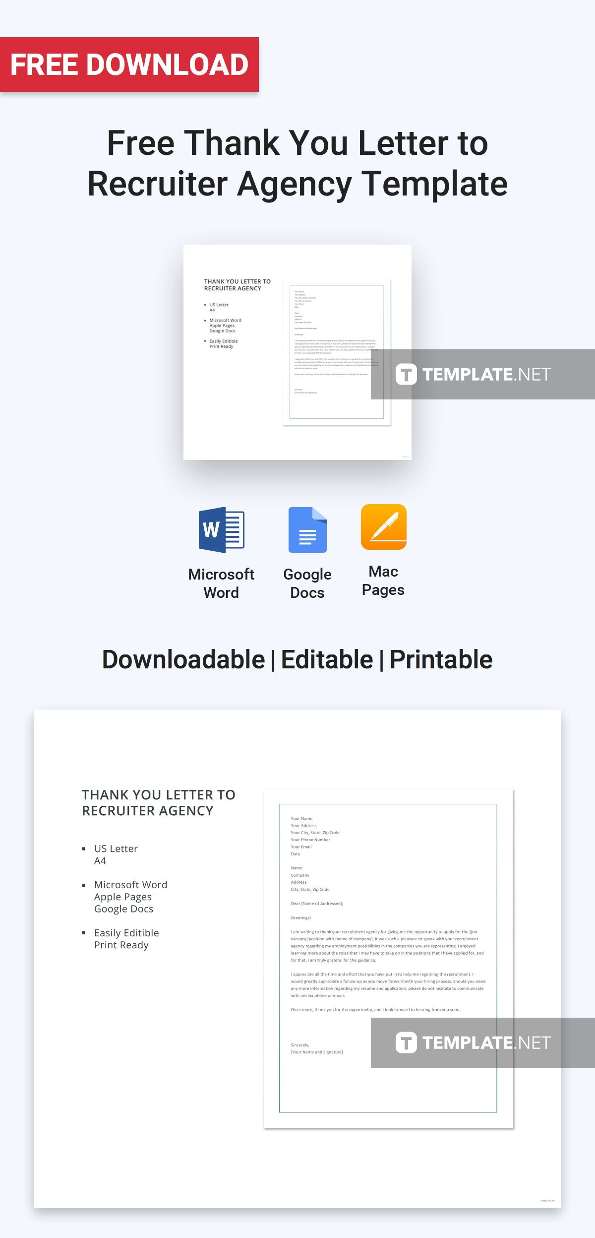 Free Thank You Letter to Recruiter Agency | Letter Templates