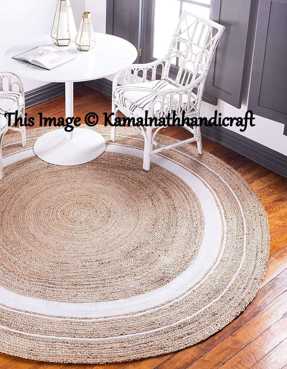 Indian Hand Braided Bohemian White Dye Round Jute Area Rug Natural Carpet Jute Round Rug Area Rugs Floor Rugs Custom Size Available In 2020 Jute Round Rug Natural Rug Jute Area Rugs