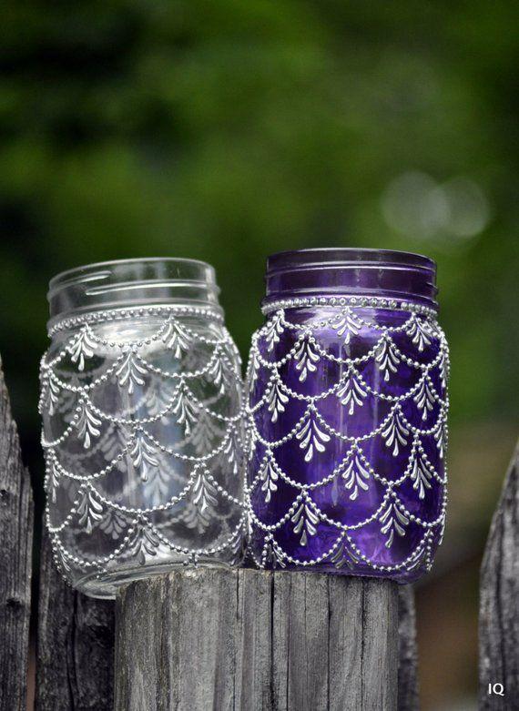 Bohemian Moroccan Mason Jar Tinted Lanterns Lighting Decorated With
