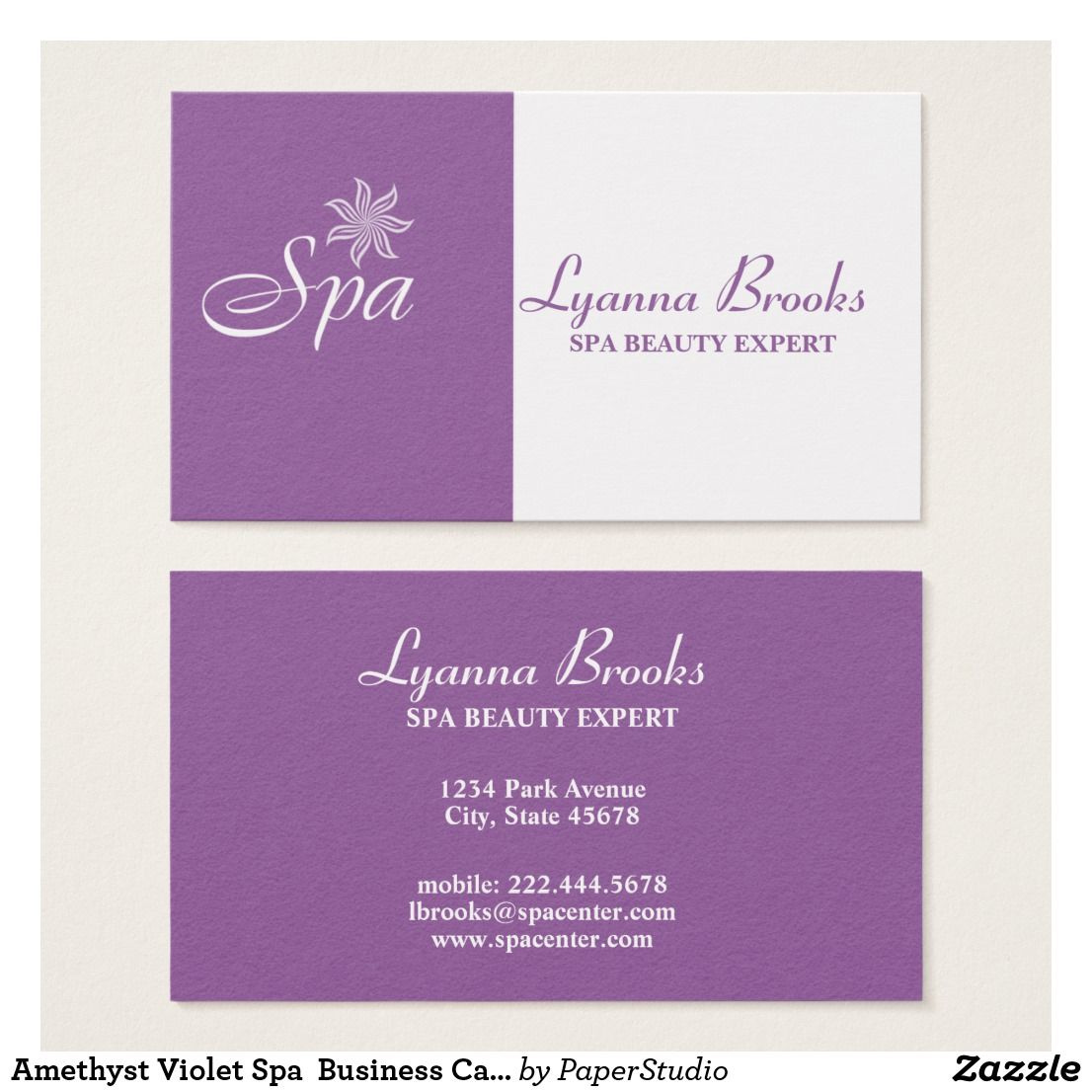 Amethyst Violet Spa Business Card | Business Cards | Pinterest ...