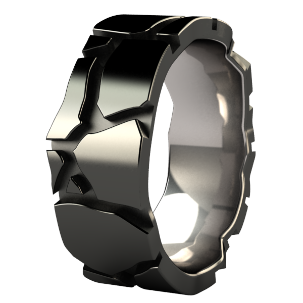 Urban Jungle Carved Mens Rings Black Titanium Titanium