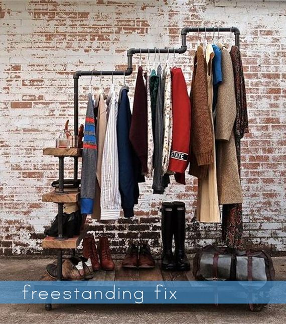 Solutions to rooms without closet - Freestanding clothing rack made from  pipe.