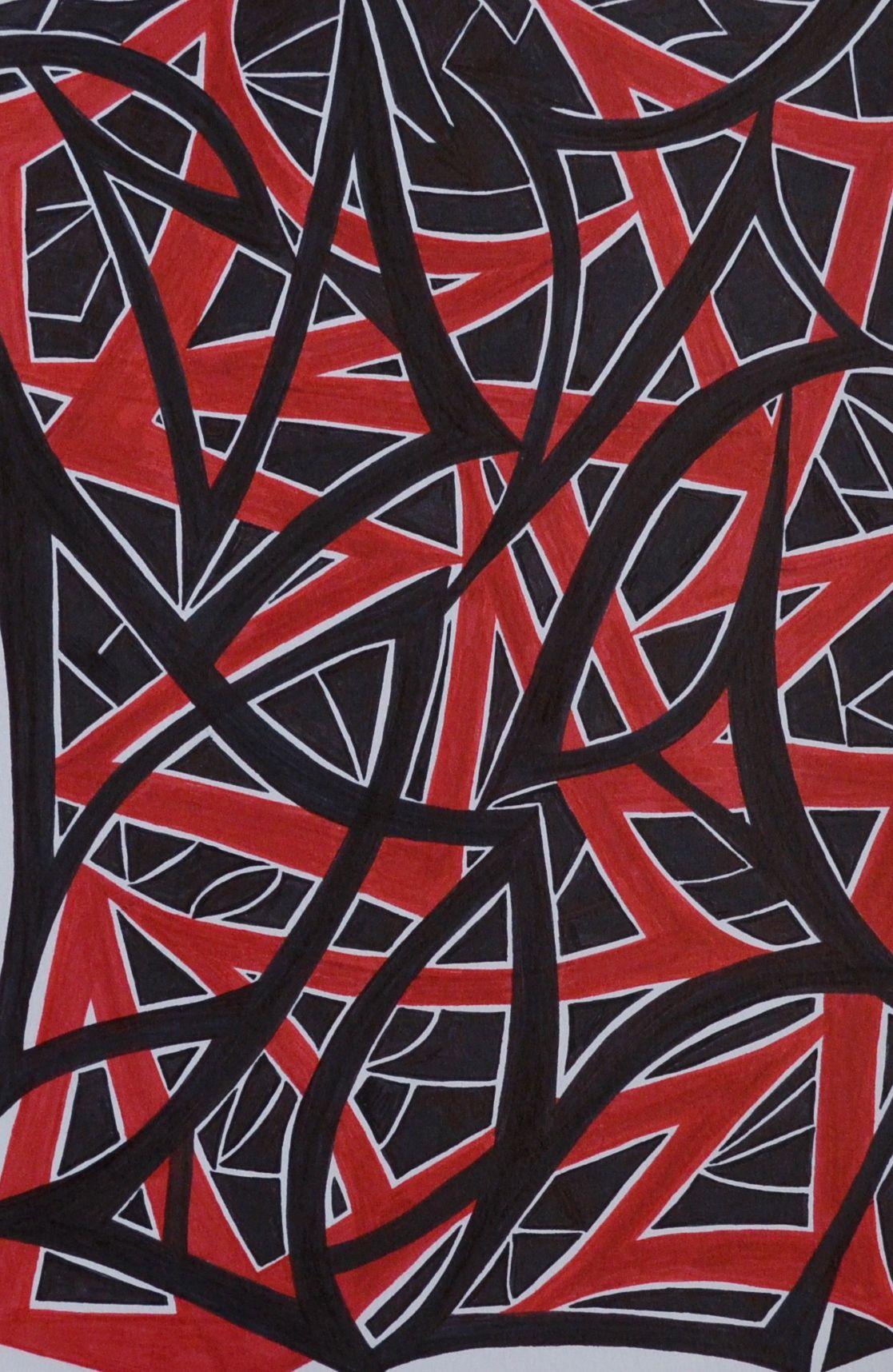 Black and red abstract sharpie art sf sharpie art art